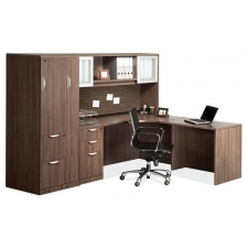 OS Laminate Series L Shaped Desk w/ Hutch and Storage