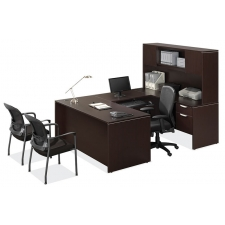os laminate series u shaped desk with hutch and hanging boxfile