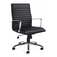 Modern Chrome Office Chair Black Leather