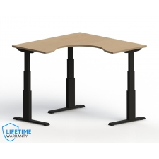"NewHeights™ Elegante XT Corner Cockpit Adjustable Height Desk - 24"" to 51"" Adjustment Range - 485 lbs Capacity **Made in the USA**"