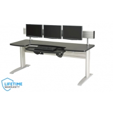 NewHeights™ Elegante XT Boat Shaped Electric Sit to Stand Desk - Adjustable Keyboard Platform and Triple Monitor Arm Mount System **Made in the USA**
