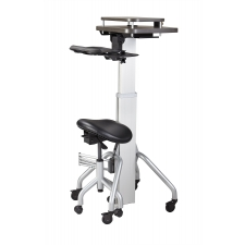 VerSIT™ Laptop Cart with Adjustable Saddle Seat aka Computer on Wheels COW