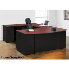 Mayline CSII Series Bow Front U Shaped Office Desk 3 Color Options