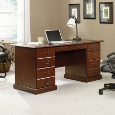 Sauder Heritage Hill Executive Desk With Black Inlay Top