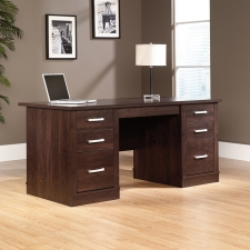 Sauder Office Port Modern Executive Desk In Dark Alder Finish