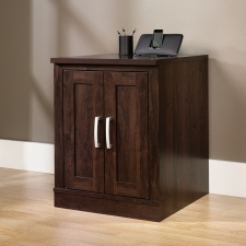 Sauder Office Port Library Base With Single Shelf In Dark Alder Finish