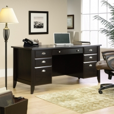 Sauder Shoal Creek Executive Computer Desk With Jamocha Finish