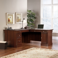 Sauder Palladia L Shaped Home Office Desk Cherry Finish
