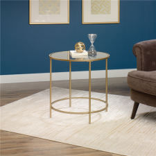 Sauder International Lux Round Glass Side Table - Gold Metal Finish