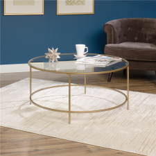 Sauder International Lux Round Glass Coffee Table - Gold Metal Finish
