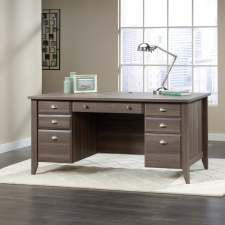 Sauder Shoal Creek Modern Executive Desk Diamond Ash Finish