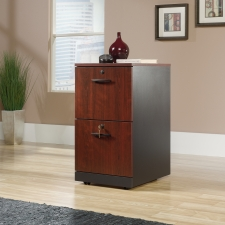 Sauder Via Two Drawer Pedestal Cherry Finish and Black Accents