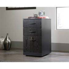 Sauder Via Collection Bourbon Oak finish Wood 3-Drawer Pedestal