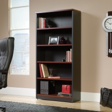 Sauder Via Four Shelf Bookcase Cherry Finish and Black Accents