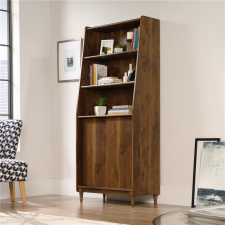 Sauder Harvey Park Wide Bookcase w/ Lower Storage Walnut Finish