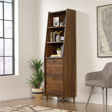 Sauder Harvey Park Narrow Bookcase w/ Pull Out Drawers Walnut Finish