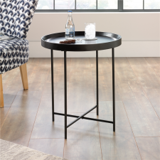 Sauder Harvey Park Round Side Table Black Finish