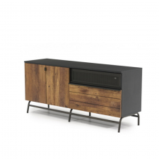 Sauder Boulevard Cafe  Black Finish Wood Credenza Metal Frame