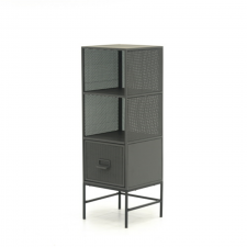 Sauder Boulevard Cafe Grey Finish Storage Tower Metal Frame