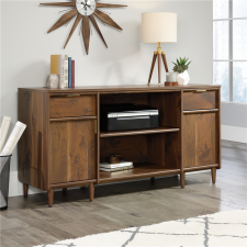 Sauder Clifford Place Double Pedestal Credenza Grand Walnut Finish