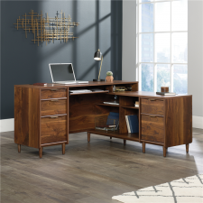 Sauder Clifford Place Double Pedestal L-Shape Office Desk Grand Walnut Finish