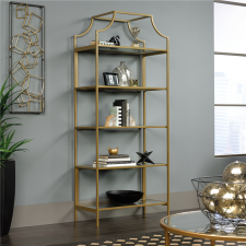Sauder International Lux Metal Bookcase - Gold Finish