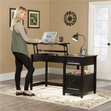 Sauder Edge Water Lift-Top Desk w/ File Drawer Black Finish