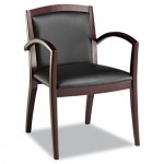 Alera Reception Series Black Leather Guest Chair Mahogany Finish