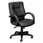 Basyx Mid Back Executive Leather Office Chair w/ Padded Fixed Arms (BAS-VL692)