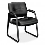 Basyx Sled Base Leather Guest Chair w/ Padded Arms   (BAS-VL693)