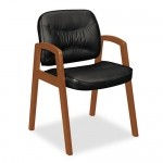 Basyx Leather Series Guest Chair w/ Wood Accents (BAS-VL800 )