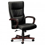 Basyx High Back Leather Office Chair w/ Wood Accents (BAS-VL844 )