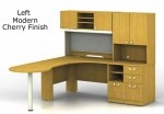 Bush Quantum Series Desk Bundle w/ Peninsula, Hutch,Storage Cabinets and Pedestal File (BBF-QUA005)