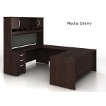 "Bush Series C U-Shaped Desk Bundle w/ 72"" Hutch and Pedestal File"