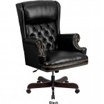 BTOD High Back Tufted Leather Traditional Desk Chair 3 Leather Colors