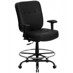 "BTOD Heavy Duty Leather Drafting Chair Seat Height 24-29"" Rated For 400 lbs."
