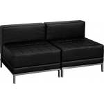 BTOD Imagination Series Two Seat Black Leather Reception Set With Steel Legs
