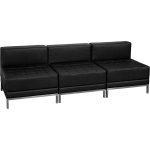 BTOD Imagination Series Three Seat Black Leather Reception Set With Steel Legs