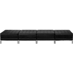 BTOD Imagination Series Four Seat Black Leather Reception Bench With Steel Legs