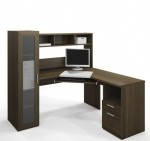 Bestar Jazz Corner Office Desk Tuxedo Brown Finish