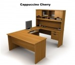 Bestar Innova U Shaped Executive Office Desk Includes Overhead Hutch