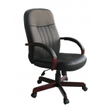 Boss High Back Executive Leather Office Chair with Wood Finish