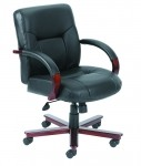Boss Mid Back Executive Leather Chair with Mahogany Finish