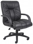 Boss Mid Back Italian Leather Executive Chair with Extra Lumbar Support