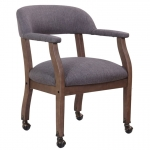 Boss Captain's Guest & Side Arm Chair with Casters and Traditional Mahogany Wood Finish (BS-B9545)