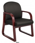 Boss Sled Base Wood Reception Chair with Mahogany Finish (BS-B9570)