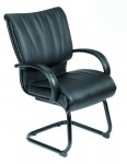 Boss Executive Leather Guest Chair w/ Sled Base