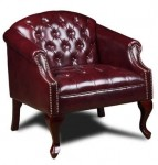 Boss Traditional Vinyl Lounge Chair Mahogany Finish (BS-BR99801-BY)