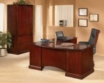 DMI Belmont Series Cherry Veneer Executive L-Shaped Office Desk w/ Locking Pedestal (DMI-713X-2X)