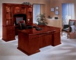 DMI Del Mar Series Sedona Cherry Veneer Executive U-Shaped Office Desk w/ Bow Front (DMI-7302-7X)